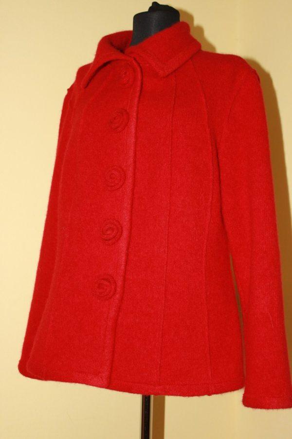Жакет женский шерстяной валяный красный