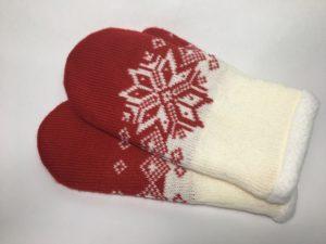 Варежки-рукавички шерстяные с звёздами