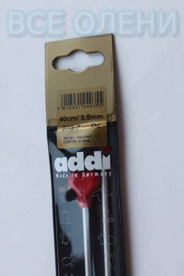 Спицы адди addi прямые 3.5 40 металл