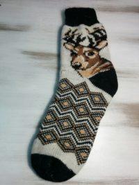 Носки шерстяные с оленями Большой размер
