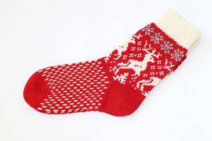 Носки вязаные шерстяные с оленями