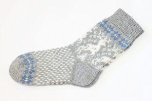 Носки вязаные шерстяные с оленями Серые Blue 2018