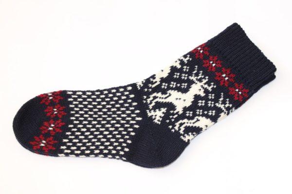 Носки вязаные шерстяные с оленями Классик 2018