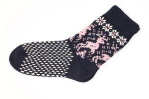 Носки вязаные шерстяные с оленями Пинк 2018