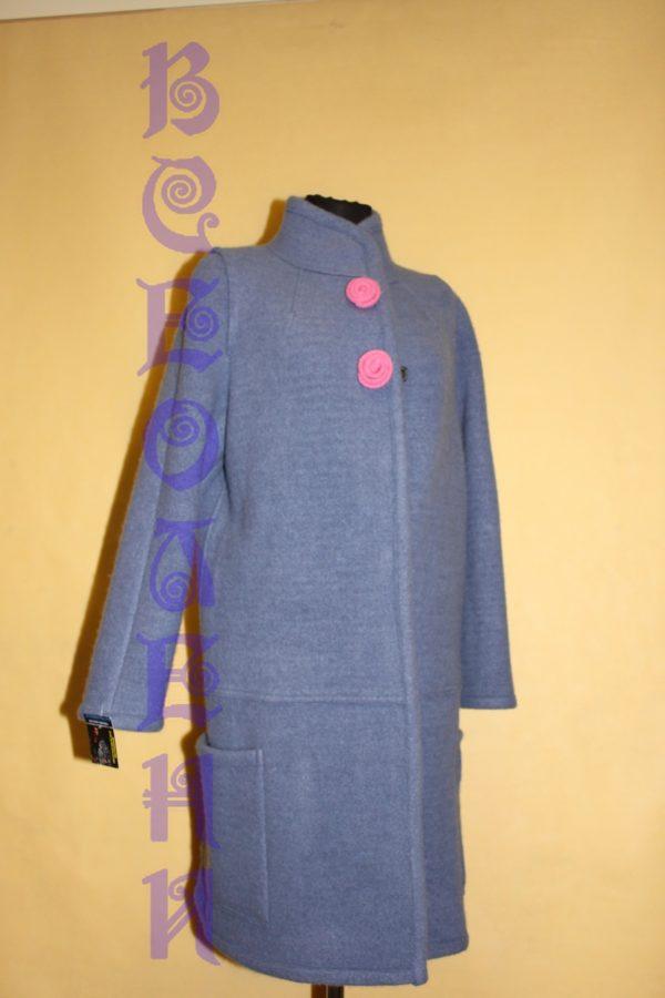 Пальто шерстяное валяное синее