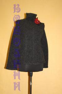 Свитер шерстяной валяный темно-серый