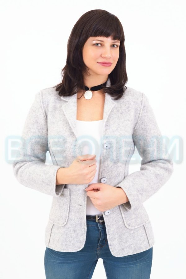 Жакет женский шерстяной валяный светло-серый