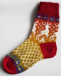Носки удлиненные шерстяные с оленями