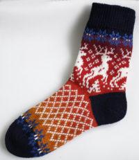 Носки удлиненные с оленями 100% шерсть