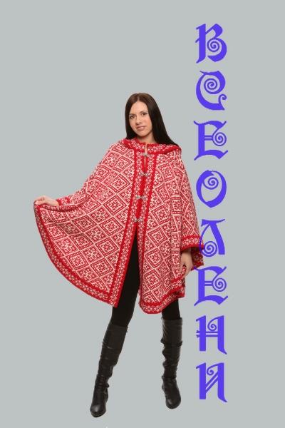 Женское пончо вязаное шерстяное с орнаментом красное