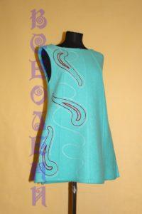 Сарафан шерстяной валяный  с ручным орнаментом морская волна