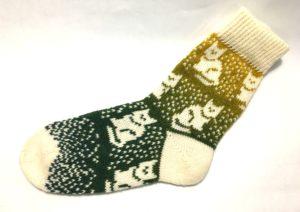 Носки вязаные с кошками