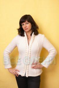 Жакет женский шерстяной валяный белоснежный