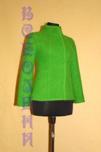 Жакет женский шерстяной валяный зеленый