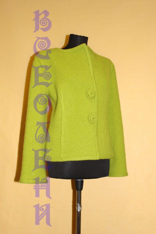 Жакет женский шерстяной валяный зелёное яблоко