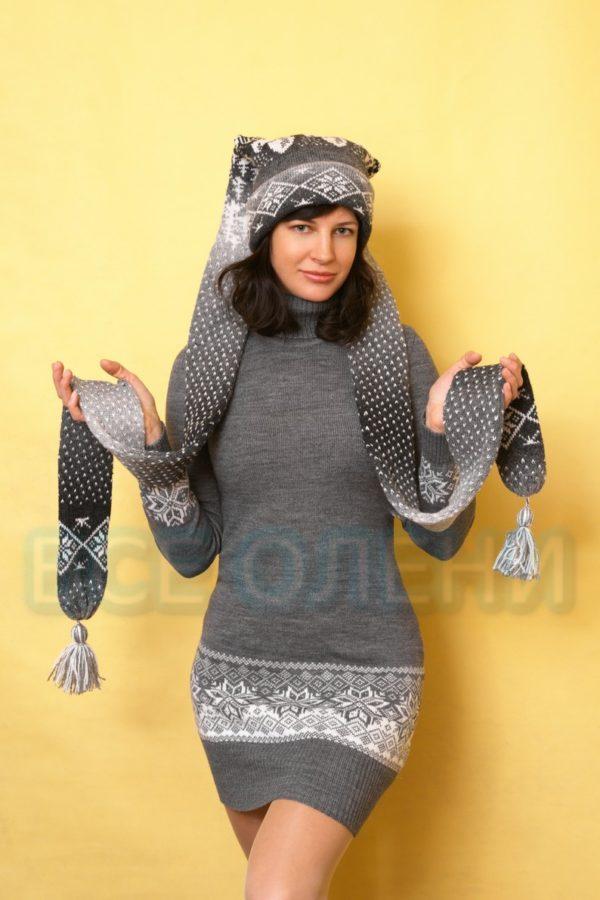 Платье-туника шерстяное серое