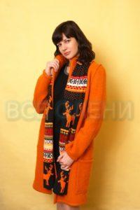 Пальто шерстяное валяное оранжевое